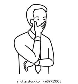 Homme d'affaires qui se couvre la bouche avec la main, et qui regarde sérieusement. Illustration vectorielle caractère de portrait, dessin dessiné à la main contour, création de dessin, style simple.