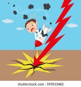 Businessman crash rocket down with red chart arrow, vector illustration cartoon