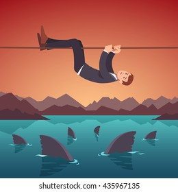 Businessman crawling over a sea of sharks holding to a tight rope. Risky project management. Business risks and difficulties concept. Flat style vector illustration clipart.