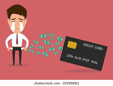 Businessman with credit card , debt concept.vector illustration