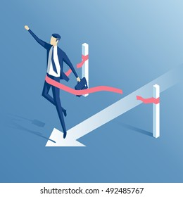 businessman crosses the finish line or the red ribbon, isometric employee wins,business concept success and victory