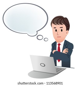 Businessman crossing arms, contemplating something with speech bubble