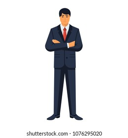 Businessman crossing arms on chest. Confident young man in a stylish suit.  Arms crossed. Modern business people. Vector illustration flat design. Isolated on white background.