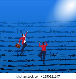 Businessman crossing barbed wire