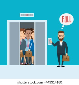 businessman and crowded elevator