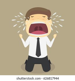 A businessman crying sad. vector