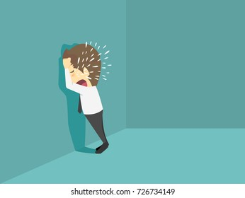 Businessman crying sad.Cartoon of business success is the concept of the man characters business, the mood of people, can be used as a background, banner, infographics. illustration vector