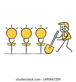 businessman cultivating  idea light bulb plant, yellow stick figure