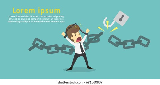 Businessman cut the chain and free himself from debt.Financial freedom .Business young cartoon of success concept is man character.businessman emotions moving include icon of man.Vector Illustration
