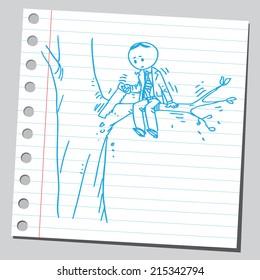Businessman cutting branch (bad idea concept)