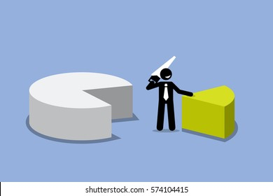 Businessman cutting out a piece of pie chart. Vector artwork depicts business man getting his share profit from financial gain.