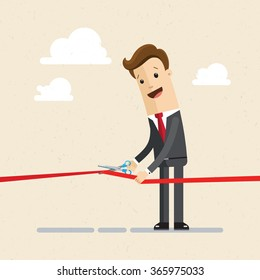 Businessman cutting a red ribbon with scissors. Illustration, VECTOR, EPS10