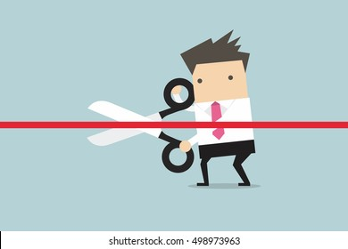 Businessman cutting a red ribbon with scissors. vector