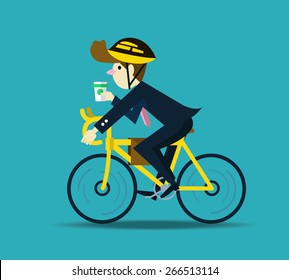 Businessman cycling to work. flat design character. vector
