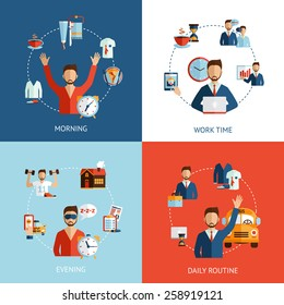 Businessman daily routine 4 flat icons composition of morning working hours and evening abstract isolated vector illustration