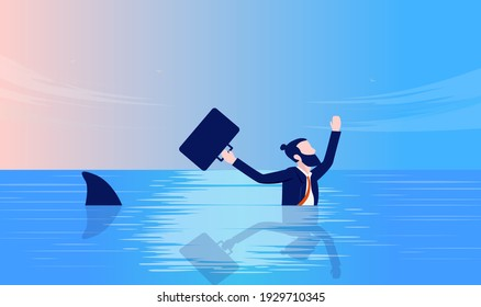 Businessman in danger - Man swimming in panic with shark in ocean. Business fear, trouble and crisis concept. Vector illustration.