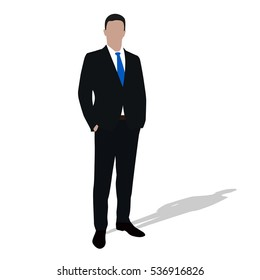 Businessman in dark suit standing with hands in pockets. Man is facing challenge. Abstract vector illustration