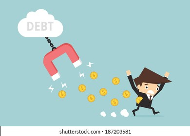 Businessman with debt , vector