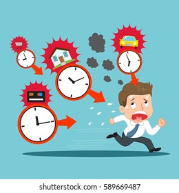 Businessman debtor running with time management payments, vector illustration cartoon