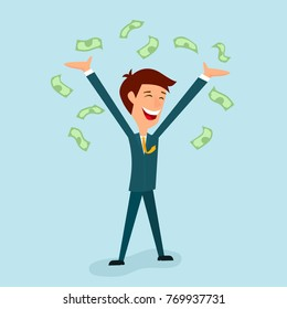 A businessman is delighted with his hands up. From above on the businessman To be torn in banknotes.Cash gain, luck, earnings