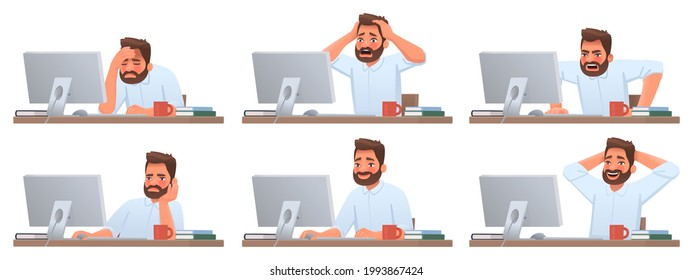 Businessman at desktop. Tired and successful worker. Deadline. The employee is angry. Different emotions of a man working in an office at a computer. Vector illustration in cartoon style