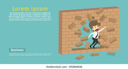 Businessman destroy the wall through the wall or barrier, escaping towards greater goal.Business young cartoon success concept is man character.businessman emotions moving.Vector Illustration
