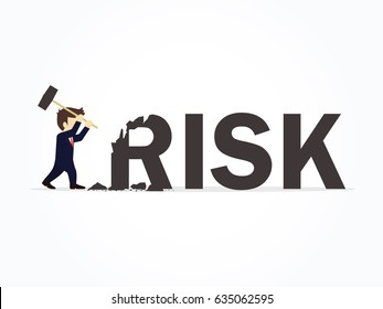 Businessman destroying the word risk. Vector illustration for business design and infographic.