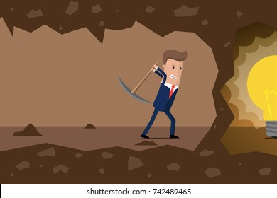 Businessman dig the earth in search of ideas. Vector illustration