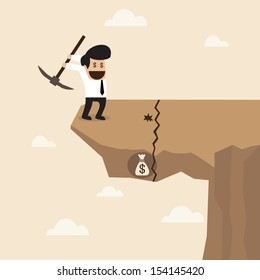 Businessman dig a ground to find a treasure at the edge of cliff with careless behavior