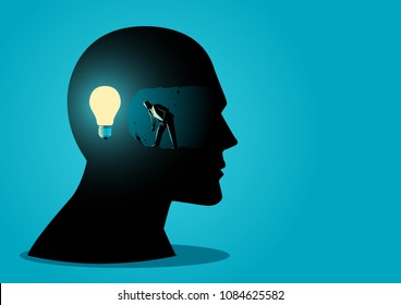 Businessman digging and mining to find bulb light, looking for ideas or how to find the right business idea concept