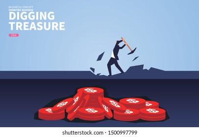 Businessman digging for treasure, businessman digging for mining