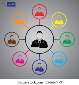 businessman with diplomat vector icon.