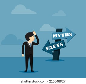 Businessman  and directional sign of facts versus myths