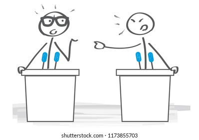 Businessman disagreeing arguing debating during office negotiations. Vector Illustration