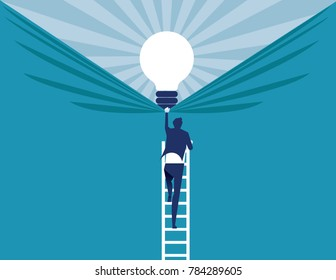 Businessman discover best ideas . Concept business vector illustration.