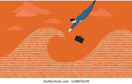 Businessman diving in the ocean of computer data, EPS 8 vector illustration