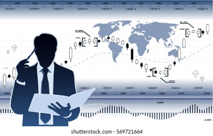 Businessman with document and diagrams