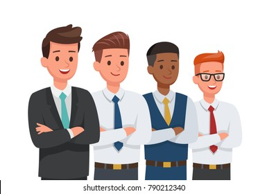 Businessman doing different gestures. Character vector design.