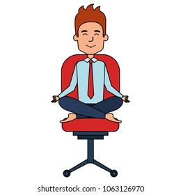 businessman doing the lotus position in office chair