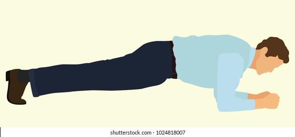 Businessman Doing Planking Exercise