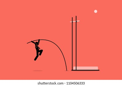 Businessman doing pole vault. Vector artwork depicts career, challenge, goal, mission, ambition, and mission.
