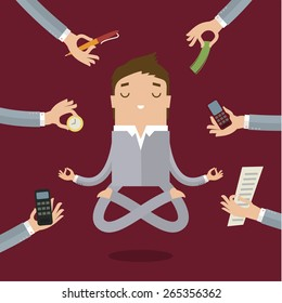 Businessman doing Yoga to calm down the stressful emotion from multitasking and very busy working.