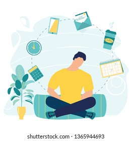 Businessman doing yoga, get calm in office. Relax, meditation, good time management concept. Business yoga concept. Office process icons on background. Meditation zen pose. Vector flat illustration.