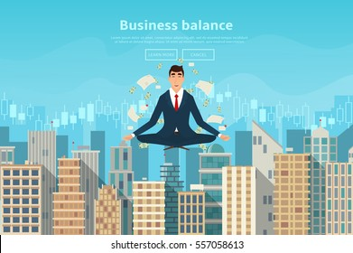 Businessman doing yoga in lotus pose. Human sitting and meditating. Vector illustration of city landscape in flat style.