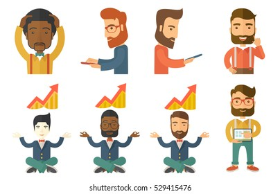 Businessman doing yoga in lotus position and thinking about the growth graph. Businessman meditating in yoga lotus position. Set of vector flat design illustrations isolated on white background.