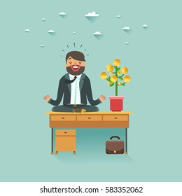 Businessman doing yoga on office table with money tree. Business growth concept. Vector colorful illustration in flat style