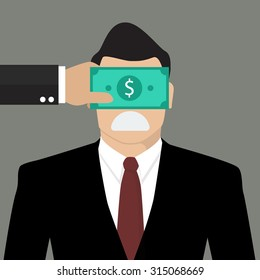 Businessman with dollar banknote taped to eyes. Bribery concept
