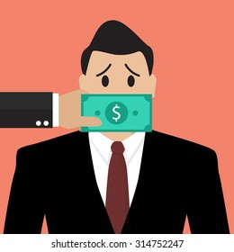 Businessman with dollar banknote taped to mouth. Bribery concept