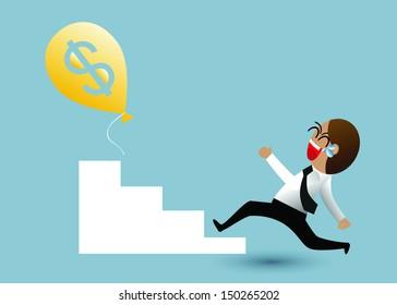 Businessman and dollar sign balloon