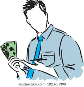 businessman with dollars vector illustration